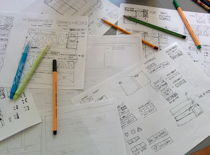 Brainstorming and sketching product ideas. More ideas mean less chance of product failure.
