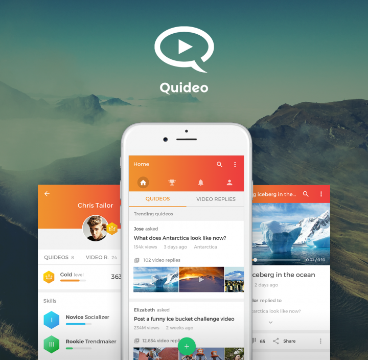 Quideo app screens