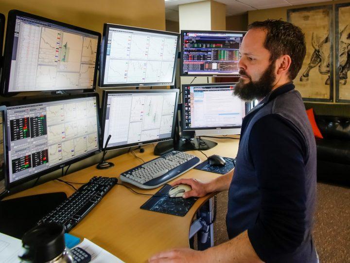 Stock trader during work.