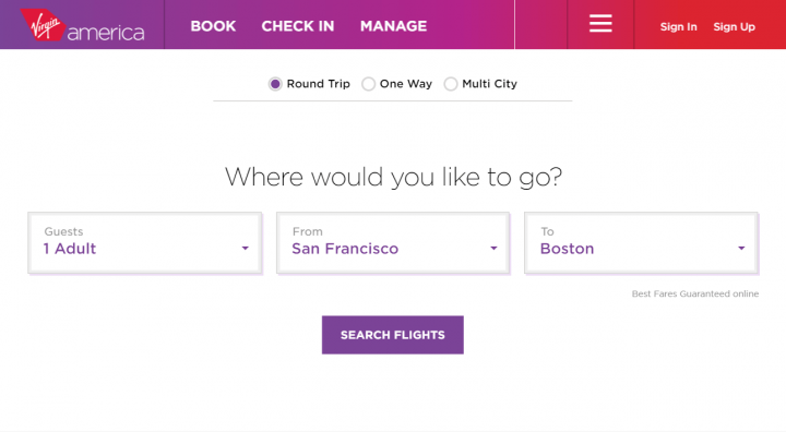 Virgin America user journey, first screen.