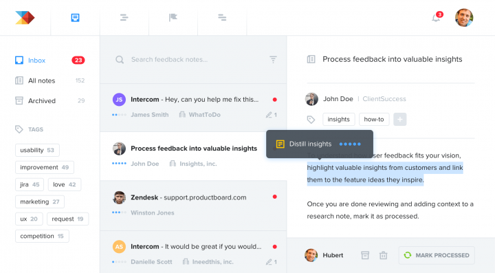 Product management tools: Product Board screen
