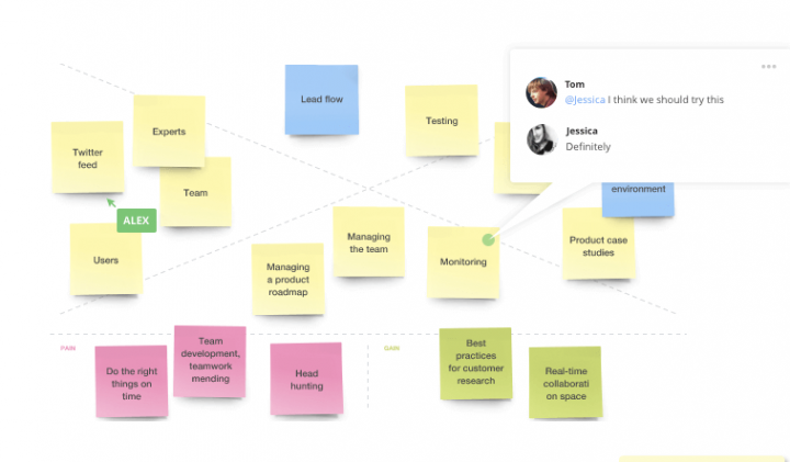 Product management tools: RealTimeBoard screen