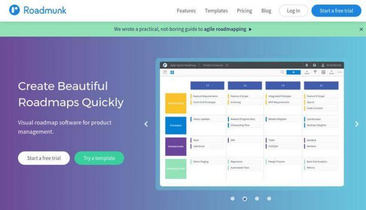 Product management tools: Roadmunk screen
