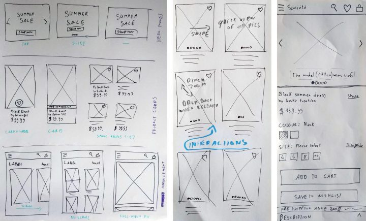 E-commerce UX Case Study Societe Store Paper Sketching