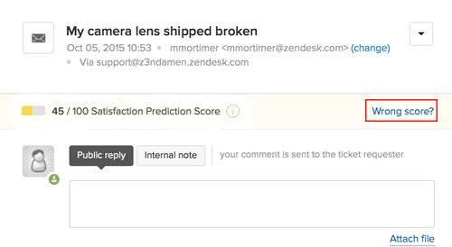 zendesk ai prediction score feedback ux ui