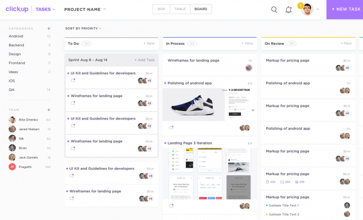 Screenshot of task management software Clickup