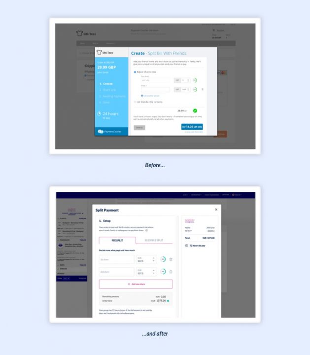Split Expenses With Payment Plugin - UX Case Study - Before and After