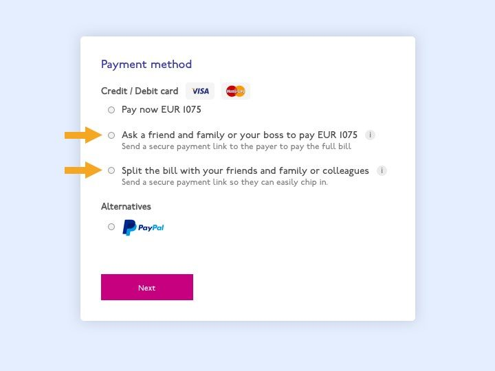 Split Expenses With Payment Plugin - UX Case Study - Payment options