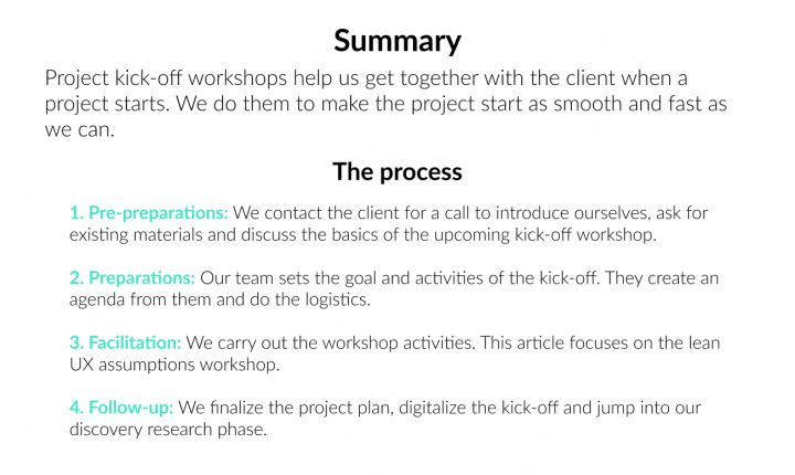 UX process kickoff workshop summary