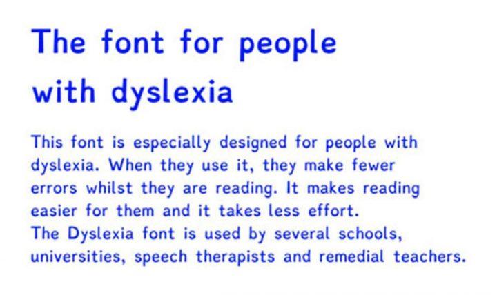 Legibility: Dyslexia font example