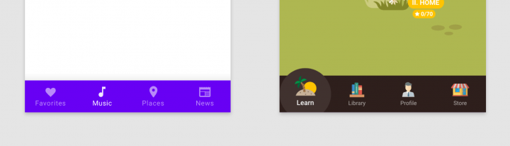 Churn rate redesign: old and new bottom navigation bars