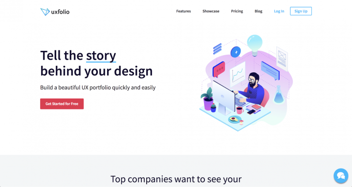 UI trends 2019 illustration: the UXfol.io main page