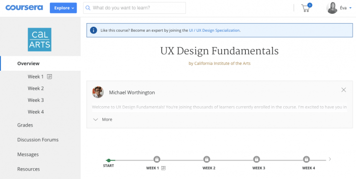 Best UX course online: Coursera UX Fundamentals screenshot