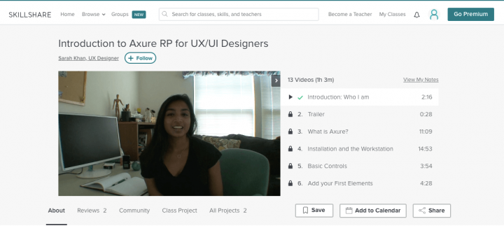 Best UX course online: Axure screenshot