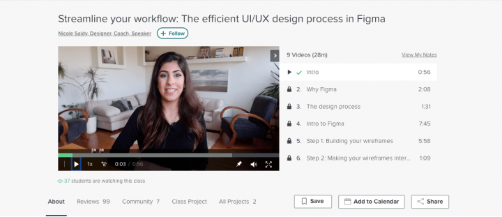 Best UX course online: Figma screenshot