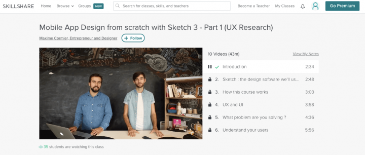 Best UX course online: Sketch screenshot