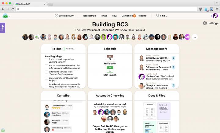 Screenshot of Basecamp collaboration tool