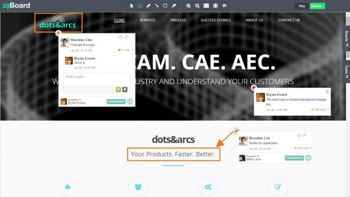 Screenshot of project management tool zipBoard