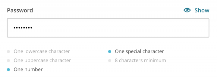 Form design password design example by Mailchimp
