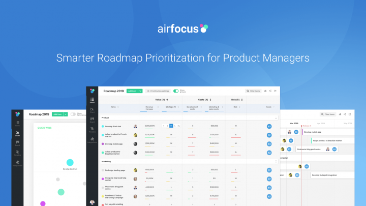Screens from product management tool Airfocus
