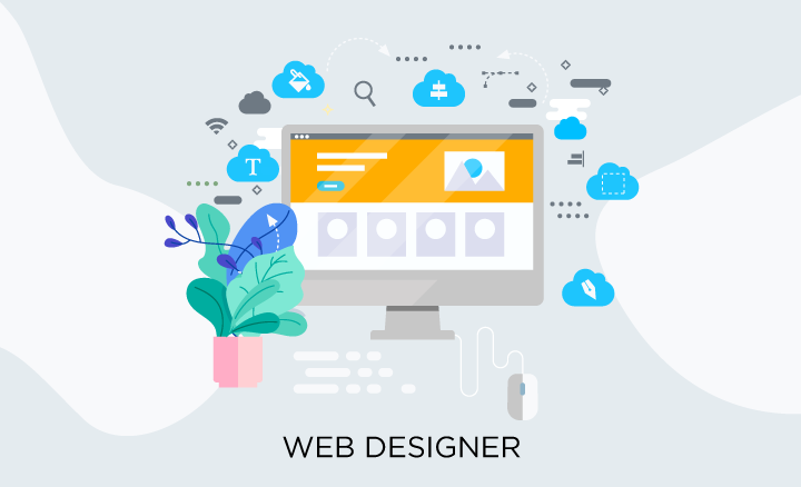 Web designer vs web developer: web designer illustration