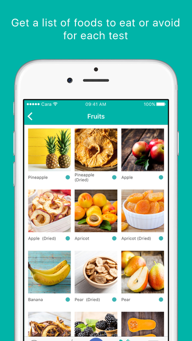 Self tracking app example screenshot: Cara