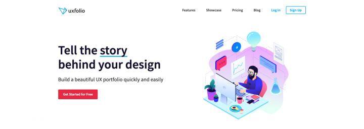Screenshot of the main page of UXfol.io portfolio creation tool