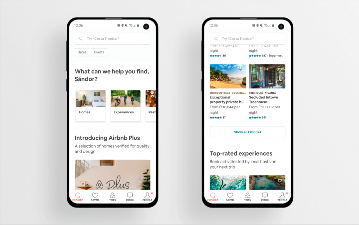 Airbnb's home screen