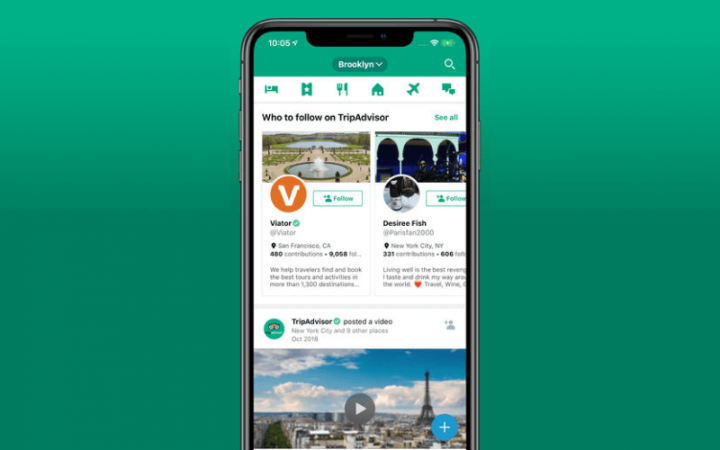 App home page of TripAdvisor app