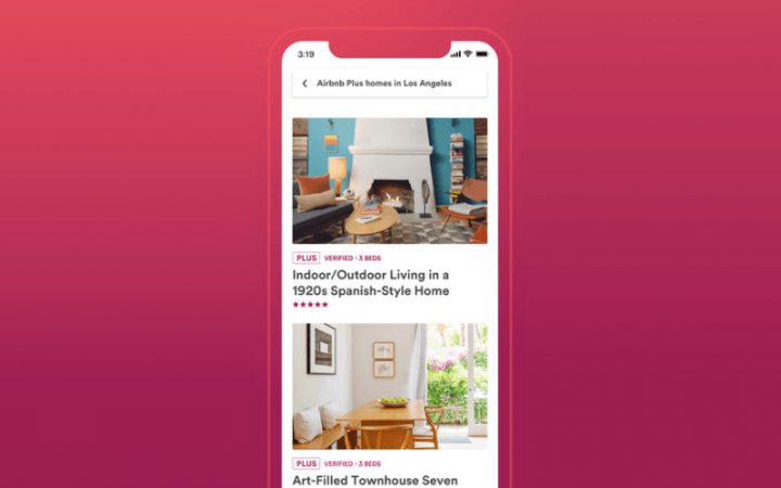 App home page of Airbnb app