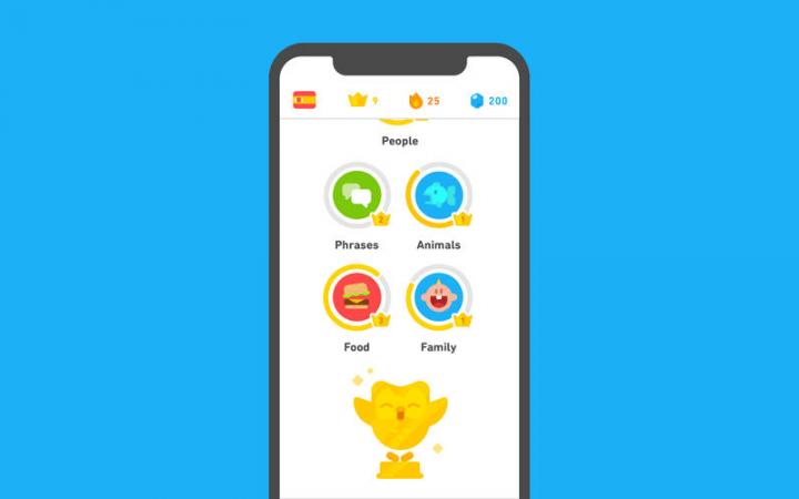 App home page of Duolingo app