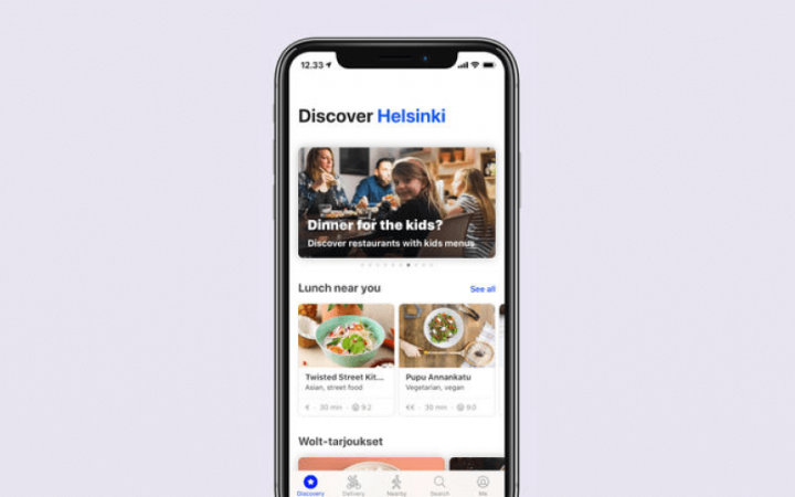 App home page of Wolt app