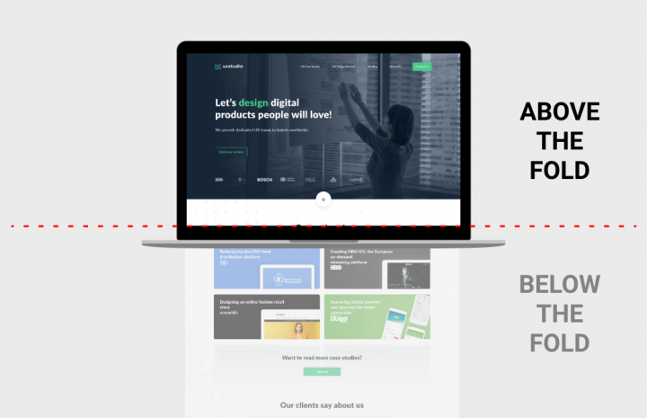 Above-the-fold landing page design element