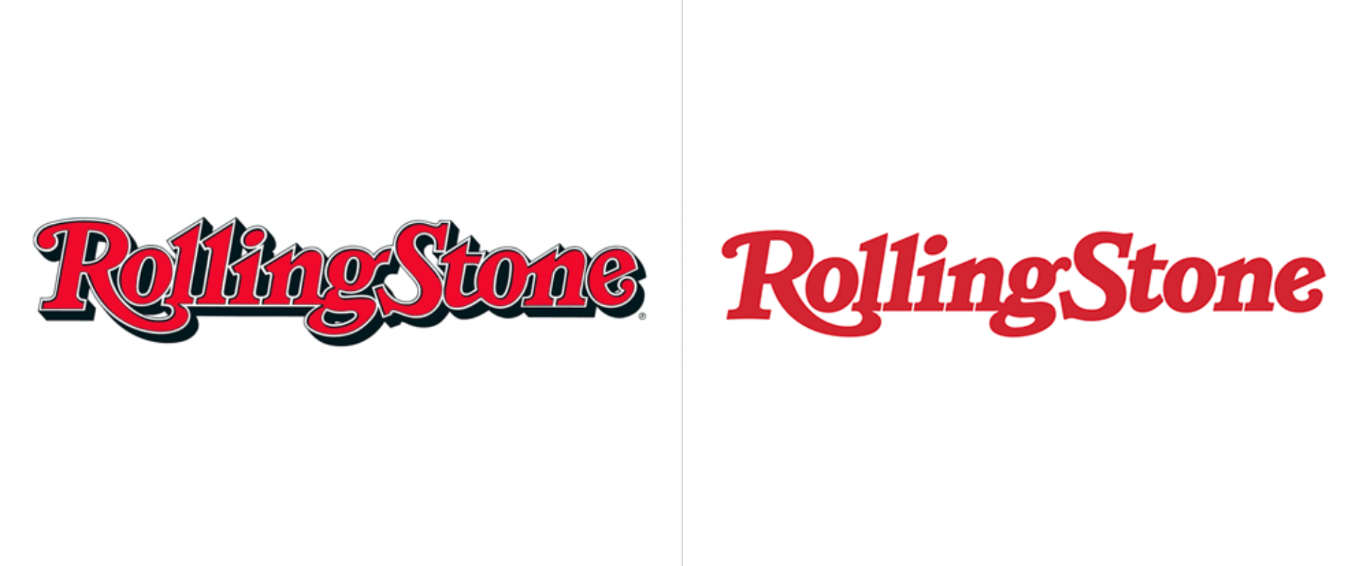 Clean and flat logo trend followed by rolling stones
