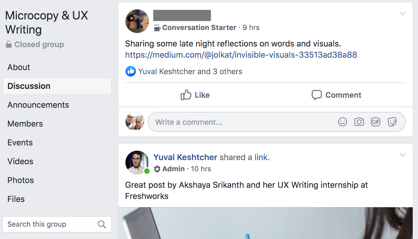 Yuval Keshtcher's ux writing facebook group