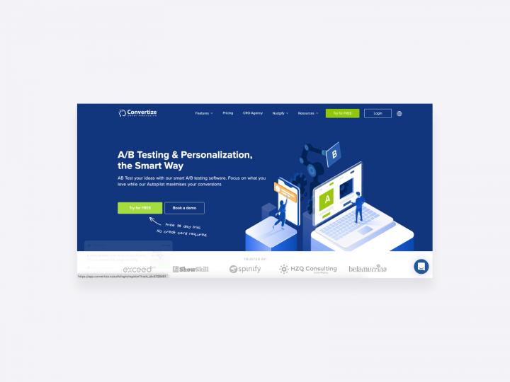 conversion optimization tool, great for copywriters. Screenshot of Convertize
