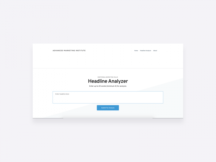 screenshot of the emotional marketing value headline analyzer by the advanced marketing institute, which is an online tool for copywriting