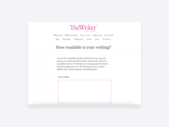 Readability tool by The Writer