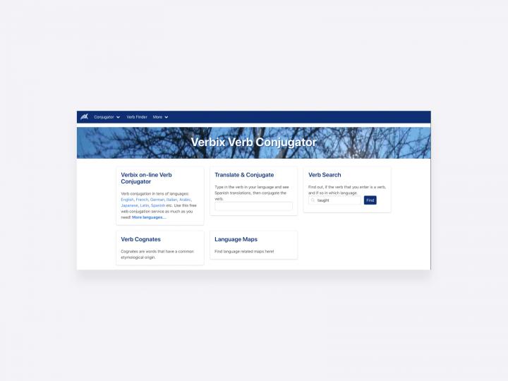 screenshot of the verbix verb conjugator, free copywriting and language learning tool