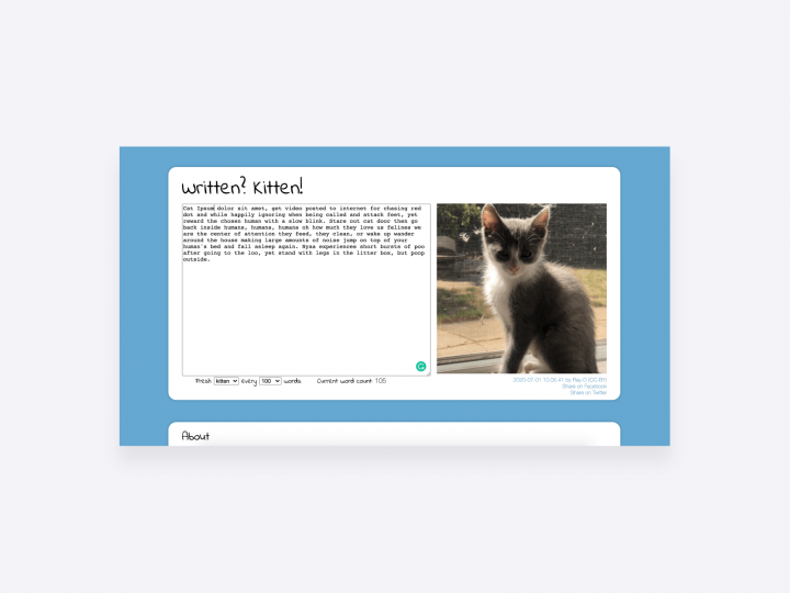 copywriting motivation tool, written? kitten. the tool gives you a pictures of a kitten after every 100 words
