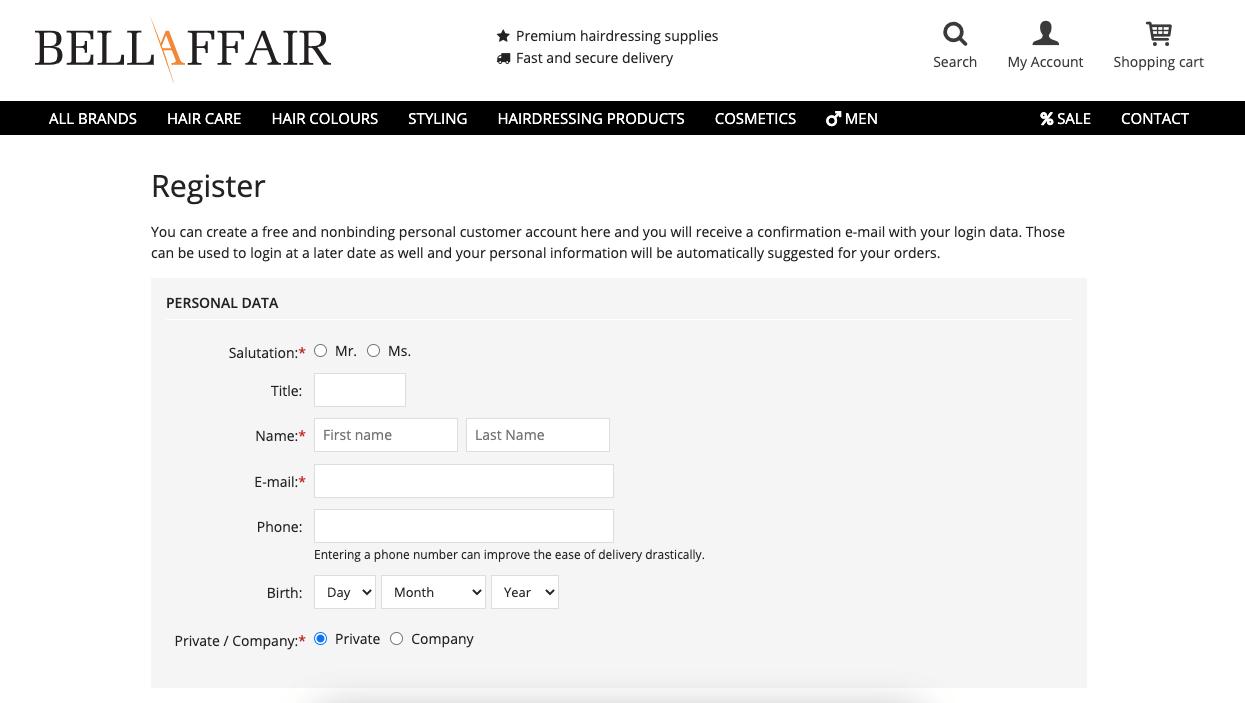 long-registration form